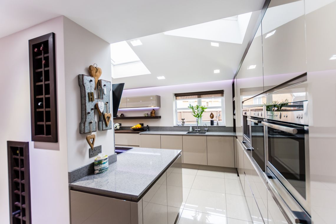 Handleless Painted Gloss Taupe 187 Homestyle Kitchens